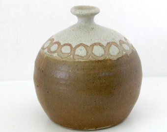 Vintage Weed Pot Studio Pottery Vase, Mid Century 1970s Marked M