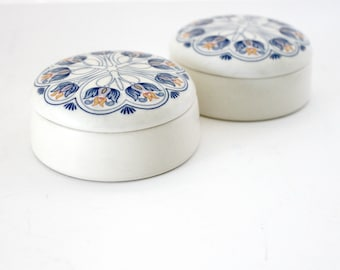 Royal Goedewaagen Amata Set of 2 Trinket Boxes Blue White Art Nouveau