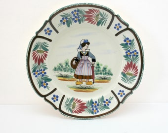Vintage HB Quimper Breton 222 Plate Lady with Basket, Woman with Umbrella and Basket, Floral Berry Rim