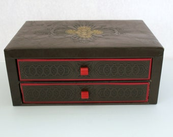 Vintage Stationery Box 2 Drawer with Paper and Envelopes, Faux Leather Storage Box, Deco