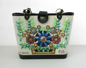 NOS Enid Collins Purse with Hang Tag, Vintage Jewel Floral Handbag, Traditional Splendor, Flowers