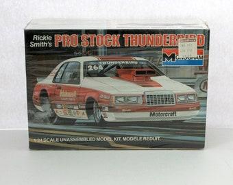 Vintage Rickie Smith's Pro Stock Thunderbird Ford Sealed Model Kit 2218 Monogram 1984 1/24 Scale