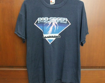 1986 Bob Seger Shirt, Rock And Roll Never Forgets, Vintage Navy Concert T