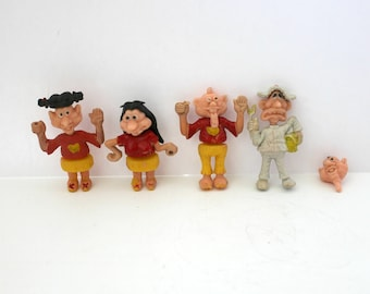 Vintage Soft Plastic Bendable Take Apart Toys People, Caveman, Hippie, Hitchhikers, Interchangeable Parts, Red w/ Yellow Heart