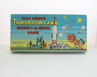 1950s Walt Disney's Tomorrowland Rocket to the Moon Game, Vintage Parker Brothers Board Game, Space, Rocket Launching