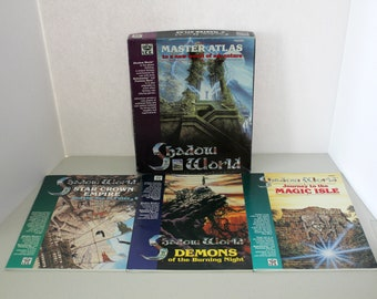 1989 Shadow World Master Atlas RPG Game, Plus 3 Extra Booklets Star Crown Empire, Demons, Magic Isle, Role Playing Game