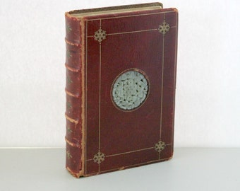 Antique Webster Collegiate Dictionary 1925 with Red Leather Cover, Center Oriental Inlay
