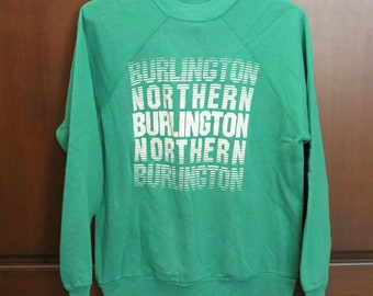 Vintage Burlington Northern Railroad Sweatshirt, College House Crew Neck, Green White