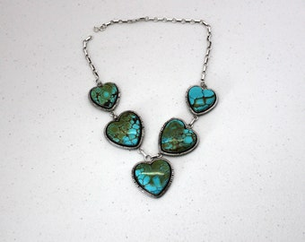Vintage W. J. Johnson Turquoise Sterling Necklace, Hearts, Silver WJ Johnson