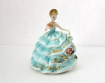Vintage Josef Originals Girl in Blue Tiered Dress with Pink Roses Figurine