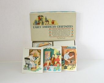 Vintage 1930s Early American CraftNotes Note Cards by Yorkcraft Box of 9 Vintage Arts, Skills, Crafts