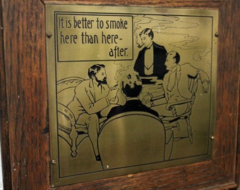 Antique Wharff Eaton Art Brass Plaque Motto Mission Arts and Crafts Men Smoking Mens Club Lounge