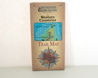 Vintage Dungeons and Dragons 1989 The Western Countries Trail Map Accessory in Pkg, D&D TSR Tactical Studies Rules