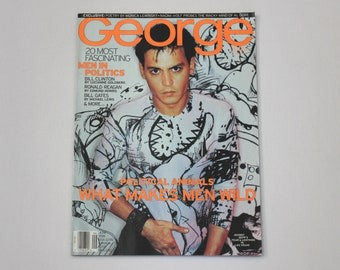 Vintage George June 1998 Magazine, Johnny Depp, Men In Politics, Bill Clinton, Ronald Reagan, Bill Gates, Monica Lewinsky