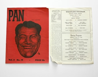 Pan Wrestling Boxing Magazine 1948 Tony Martinez Gorgeous George Plus Program Flyer Ocean Park Dave Levin