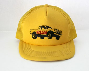 Vintage Nissan Truck Yellow Mesh Trucker Cap, Adjustable Snap Back Hat, Embroidered Moja Cap