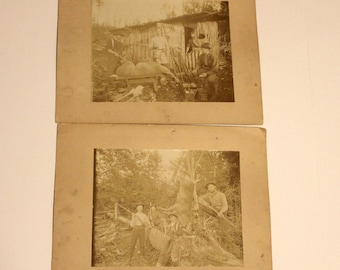 Antique Set 2 1900s Cabinet Cards Hunting, Gund, Deer, Dog, Flag, Photo