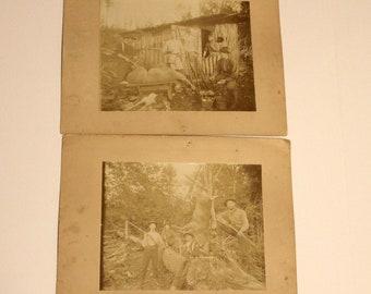 Antique Set 2 1900s Cabinet Cards Hunting, Gund, Deer, Dog, Flag, Photo