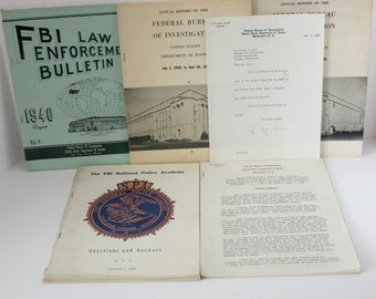 Lot FBI 1940s Annual Reports, Bulletin, Signed J Edgar Hoover Letter, Address Transcript