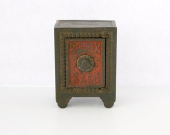 Antique 1880s Security Safe Cast Iron Toy Bank