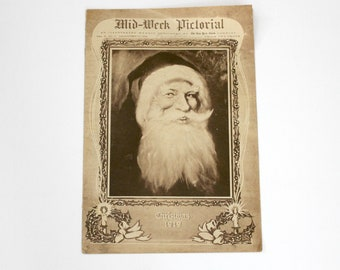 Antique Christmas 1919 Mid Week Pictorial Magazine, Vintage Santa Cover, December 25, 1919, New York Times