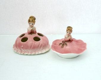 Vintage Josef Originals Pair Set Lipstick Holder Trinket Dish, Procelain Pink Dresses Girl
