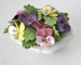 Vintage Royal Adderley Floral Shell Figurine, Bone China England, Violets, Knick Knack