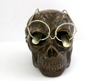 Vintage Brown Skull with Glasses Ashtray, Smoking, Tobacciana