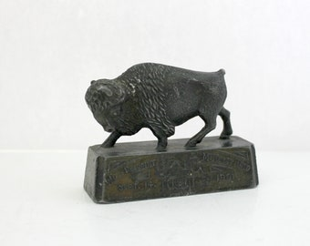 Antique Buffalo Paperweight, McKinley Assassination 1901 World's Fair Metal Animal Statue