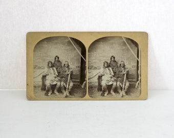 Antique W. P. Bliss Stereoview Card Pueblo Indian Territory, Santa Fe New Mexico Stereograph