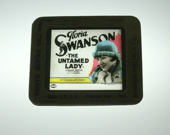 Vintage Magic Lantern Slide, Gloria Swanson The Untamed Lady Silent Film, 1920s