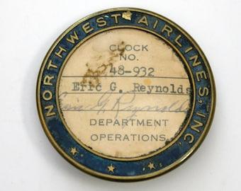 Northwest Airlines Employee Worker Badge Pin Department Operations Vintage Metal Enamel 1940s