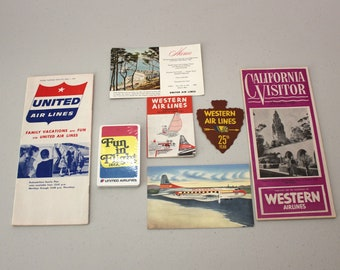 1950s Lot Airlines Memorabilia, United, Western Air Lines, Postcards, Playing Card Deck, Timetable, 25th Anniv. Sticker, California Visitor
