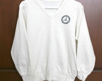 Vintage Mercedes Benz Sweatshirt, V Neck, White Black, Car Logo