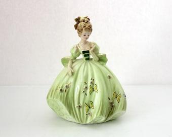 Vintage Josef Originals Green Love Locket Girl, Porcelain Figurine, Love Makes The World Go Round Series, Butterlies, Gown, Japan Sticker