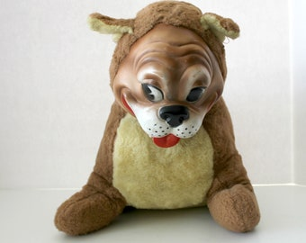 1959 Vintage Gloria Toy Co Stuffed Plush Dog Brown Bulldog Rubber Face