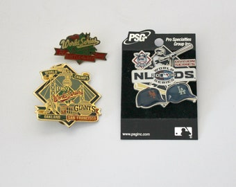 Lot of 3 MLB World Series Pins, Baseball Press Pins, NLDS 2006, 1989 Champs, A's, Giants, Mets, Dodgers