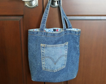 Levi's Denim Jean Purse Bag, Blue Vintage Handmade Lined Handbag Small Tote