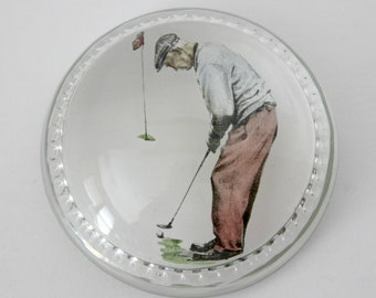 Golfer Paperweight, Glass Transfer Design