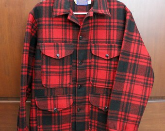 Vintage Men's  Pendleton Red Black Plaid Wool Jacket Coat, 1960s Size M Cruiser