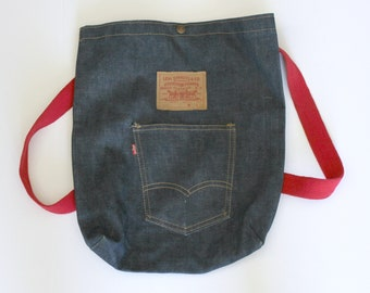 Vintage Levi Backpack Tote Bag Sack, Denim Jean 1980s
