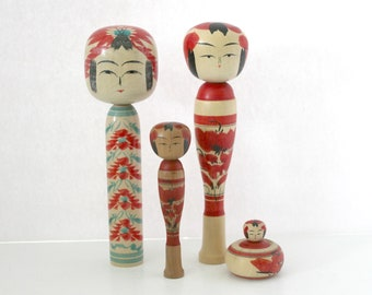 Vintage Lot 4 Kokeshi Dolls, Wood Folk Art Wooden Japanese Dolls