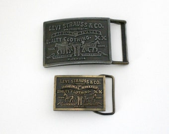 Vintage Lot 2 Levi Strauss Belt Buckles, 1970s Bergamot Brass Works