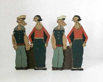 Vintage Popeye Olive Oil Wood Carved Folk Art Figural Standees Bookends