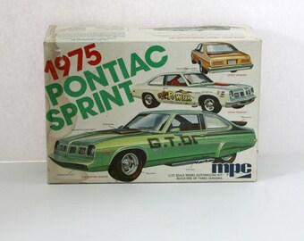 Vintage 1975 Pontiac Sprint Model Kit MPC 1-7503 1/25 Scale Unbuilt, Stock or Custom GTO Drag Version