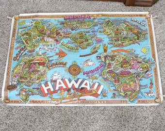 1972 Hawaii Poster Map, Vintage Hugh Baker Cartoon Illustrated, Hawaiian Islands