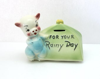 Vintage Piggy Bank USA Made For Your Rainy Day Pig with Purse, Ceramic Pottery