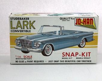 Sealed Studebaker Lark Convertible Model Kit, Vintage 1960s Jo-Han CS-507 NIB
