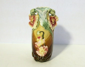 Antique Art Nouveau 1900s Majolica Vase, Floral Austria, Brown Green Pinks