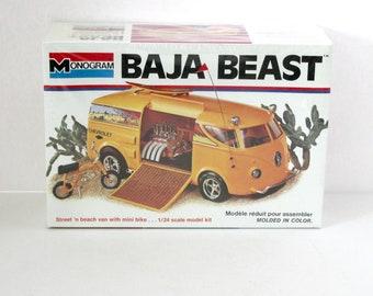 Chevrolet Baja Beast Sealed Model Kit 7527 Monogram 1994 1/24 Scale 1970s Street Beach Van with Honda Mini Bike